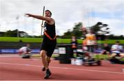 23 August 2020; Rory Gunning of Clonliffe Harriers AC, Dublin, on his way to finishing third in the Men's Javelin during Day Two of the Irish Life Health National Senior and U23 Athletics Championships at Morton Stadium in Santry, Dublin. Photo by Sam Barnes/Sportsfile