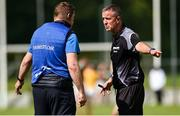 23 August 2020; Clontibret manager John McEntee remonstrates with referee Colin Murphy during the Monaghan County Senior Football Championship Group 1 Round 5 match between Clontibret O'Neills and Inniskeen at Clontibret in Monaghan. Photo by Philip Fitzpatrick/Sportsfile