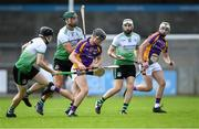 23 August 2020; Caolan Conway of Kilmacud Crokes in action against Lucan Sarsfields players, from left, Matt McCaffrey, Chris Crummey, and Peter Kelly during the Dublin County Senior A Hurling Championship Quarter-Final match between Kilmacud Crokes and Lucan Sarsfields at Parnell Park in Dublin. Photo by Piaras Ó Mídheach/Sportsfile