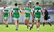 23 August 2020; James O'Donoghue of Killarney Legion celebrates with team-mates Kieran O'Donoghue, left, and Cian Gammell after the Kerry County Senior Football Championship Round 1 match between Killarney Legion at Kerins O'Rahilly's at Fitzgerald Stadium in Killarney, Kerry. Photo by Brendan Moran/Sportsfile
