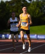 23 August 2020; Darragh McElhinney of UCD AC, Dubin, celebrates as he crosses the line to win the Men's 5000m during Day Two of the Irish Life Health National Senior and U23 Athletics Championships at Morton Stadium in Santry, Dublin. Photo by Sam Barnes/Sportsfile