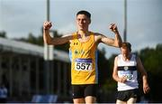 23 August 2020; Darragh McElhinney of UCD AC, Dubin, celebrates after winning the Men's 5000m, ahead of John Travers of Donore Harriers, Dublin, who finished second, during Day Two of the Irish Life Health National Senior and U23 Athletics Championships at Morton Stadium in Santry, Dublin. Photo by Sam Barnes/Sportsfile