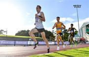 23 August 2020; John Travers of Donore Harriers, Dublin, left, leads from, Darragh McElhinney of U.C.D. AC, Dublin, centre, and Efrem Gidey of Clonliffe Harriers AC, Dublin, whilst competing in the Men's 5000m during Day Two of the Irish Life Health National Senior and U23 Athletics Championships at Morton Stadium in Santry, Dublin. Photo by Sam Barnes/Sportsfile