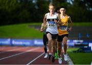 23 August 2020; John Travers of Donore Harriers, Dublin, left, and Darragh McElhinney of UCD AC, Dublin, competing in the Men's 5000m  during Day Two of the Irish Life Health National Senior and U23 Athletics Championships at Morton Stadium in Santry, Dublin. Photo by Sam Barnes/Sportsfile