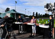 23 August 2020; RTE Broadcaster Peter Collins, right, is joined by Sonia O'Sullivan and David Gillick during the RTE Live broadcast during Day Two of the Irish Life Health National Senior and U23 Athletics Championships at Morton Stadium in Santry, Dublin. Photo by Sam Barnes/Sportsfile