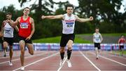 23 August 2020; Matthew Behan of Crusaders AC, Dublin, celebrates as he crosses the line to win the Men's 400m Hurdles during Day Two of the Irish Life Health National Senior and U23 Athletics Championships at Morton Stadium in Santry, Dublin. Photo by Sam Barnes/Sportsfile