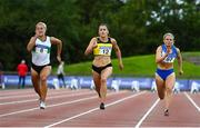 23 August 2020; Phil Healy of Bandon AC, Cork, on her way to winning the Women's 100m, ahead of Sarah Lavin of Emerald AC, Limerick, left, and Molly Scott of St. Laurence O'Toole AC, Carlow, right, during Day Two of the Irish Life Health National Senior and U23 Athletics Championships at Morton Stadium in Santry, Dublin. Photo by Sam Barnes/Sportsfile