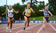 23 August 2020; Phil Healy of Bandon AC, Cork, crosses the line to win the Women's 100m, ahead of Sarah Lavin of Emerald AC, Limerick, left, and Molly Scott of St. Laurence O'Toole AC, Carlow, right, during Day Two of the Irish Life Health National Senior and U23 Athletics Championships at Morton Stadium in Santry, Dublin. Photo by Sam Barnes/Sportsfile