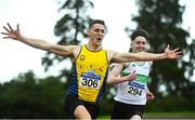23 August 2020; Stephen Gaffney of UCD AC, Dublin, left, celebrates after winning the Men's 100m, ahead of Mark Smyth of Raheny Shamrock AC, Dublin, during Day Two of the Irish Life Health National Senior and U23 Athletics Championships at Morton Stadium in Santry, Dublin. Photo by Sam Barnes/Sportsfile