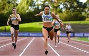 23 August 2020; Sophie Becker of Raheny Shamrock AC, Dublin, dips for the line to win the Women's 400m during Day Two of the Irish Life Health National Senior and U23 Athletics Championships at Morton Stadium in Santry, Dublin. Photo by Sam Barnes/Sportsfile