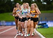 23 August 2020; Michelle Finn of Leevale AC, Cork, left, and Iseult O'Donnell of Raheny Shamrock AC, Dublin, lead the field whilst competing in the Women's 1500m during Day Two of the Irish Life Health National Senior and U23 Athletics Championships at Morton Stadium in Santry, Dublin. Photo by Sam Barnes/Sportsfile