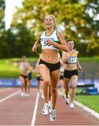 23 August 2020; Amy O'Donoghue of Emerald AC, Limerick, celebrates winning the Women's 1500m during Day Two of the Irish Life Health National Senior and U23 Athletics Championships at Morton Stadium in Santry, Dublin. Photo by Sam Barnes/Sportsfile