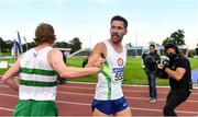 23 August 2020; Paul Robinson of St. Coca's AC, Kildare, centre, is congratulated by Sean Tobin of Clonmel AC, Tipperary after winning the Men's 1500m during Day Two of the Irish Life Health National Senior and U23 Athletics Championships at Morton Stadium in Santry, Dublin. Photo by Sam Barnes/Sportsfile