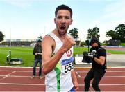 23 August 2020; Paul Robinson of St. Coca's AC, Kildare, celebrates after winning the Men's 1500m during Day Two of the Irish Life Health National Senior and U23 Athletics Championships at Morton Stadium in Santry, Dublin. Photo by Sam Barnes/Sportsfile