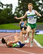 23 August 2020; Paul Robinson of St. Coca's AC, Kildare, left, crosses the finish line to win the Men's 1500m, ahead of Sean Tobin of Clonmel AC, Tipperary, right, who finished second, during Day Two of the Irish Life Health National Senior and U23 Athletics Championships at Morton Stadium in Santry, Dublin. Photo by Sam Barnes/Sportsfile