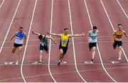 23 August 2020; Stephen Gaffney of UCD AC, Dublin, centre, celebrates as he crosses the line to win the Men's 100m during Day Two of the Irish Life Health National Senior and U23 Athletics Championships at Morton Stadium in Santry, Dublin. Photo by Sam Barnes/Sportsfile