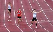 23 August 2020; Matthew Behan of Crusaders AC, Dublin, right, celebrates after winning the Men's 400m Hurdles, ahead of Cathal Locke of Dooneen AC, Limerick, centre, who finished second, and Jason Harvey of Crusaders AC, Dublin, left, who finished third, during Day Two of the Irish Life Health National Senior and U23 Athletics Championships at Morton Stadium in Santry, Dublin. Photo by Sam Barnes/Sportsfile