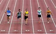 23 August 2020; Stephen Gaffney of UCD AC, Dublin, centre, on his way to winning the Men's 100m during Day Two of the Irish Life Health National Senior and U23 Athletics Championships at Morton Stadium in Santry, Dublin. Photo by Sam Barnes/Sportsfile