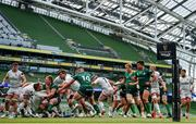 23 August 2020; Adam McBurney of Ulster is held up short of the try line by Kieran Marmion of Connacht during the Guinness PRO14 Round 14 match between Connacht and Ulster at the Aviva Stadium in Dublin. Photo by Ramsey Cardy/Sportsfile