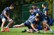 24 August 2020; Leinster players, from left, Josh Murphy, Harry Byrne, Cian Kelleher and Tom Clarkson during Leinster Rugby squad training at UCD in Dublin. Photo by Ramsey Cardy/Sportsfile