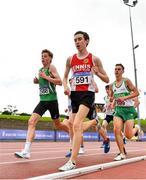 22 August 2020; Athletes, from left, Tony McCambridge of St Malachy's AC, Antrim, Dean Casey of Ennis Track AC, Clare, and James Hyland of Raheny Shamrock AC, Dublin, competing in the Junior Men's 5000m during Day One of the Irish Life Health National Senior and U23 Athletics Championships at Morton Stadium in Santry, Dublin. Photo by Sam Barnes/Sportsfile