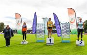 22 August 2020; Athletics Ireland President Georgina Drumm, left, with Women's hammer medallists, from left, Megan Moynihan of West Muskerry AC, Cork, bronze, Nicola Tuthill of Bandon AC, Cork, gold, and Ciara Sheehy of Emerald AC, Limerick, silver, during Day One of the Irish Life Health National Senior and U23 Athletics Championships at Morton Stadium in Santry, Dublin. Photo by Sam Barnes/Sportsfile