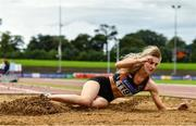 22 August 2020; Shannon Sheehy of Clonliffe Harriers AC, Dublin, competing in the Women's Long Jump during Day One of the Irish Life Health National Senior and U23 Athletics Championships at Morton Stadium in Santry, Dublin. Photo by Sam Barnes/Sportsfile