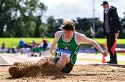 22 August 2020; Donal Kearns of Cushinstown AC, Meath, competing in the Men's Long Jump during Day One of the Irish Life Health National Senior and U23 Athletics Championships at Morton Stadium in Santry, Dublin. Photo by Sam Barnes/Sportsfile