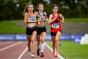 22 August 2020; Athletes, from left, Holly Brennan of Cilles AC, Meath, Celine Gavin of Celtic DCH AC, Dublin, and Aoife Coffey of Lucan Harriers AC, Dublin, competing in the Junior Women's 5000m during Day One of the Irish Life Health National Senior and U23 Athletics Championships at Morton Stadium in Santry, Dublin. Photo by Sam Barnes/Sportsfile