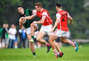 15 August 2020; Adam Doyle of Parnells is tackled by Peadar Ó Cofaigh Byrne of Cuala during the Dublin County Senior 2 Football Championship Group 2 Round 3 match between Cuala and Parnells at Hyde Park in Dublin. Photo by Piaras Ó Mídheach/Sportsfile
