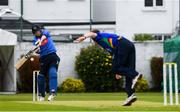 27 August 2020; Kevin O'Brien of Leinster Lightning plays a shot from Graham Hume of North West Warriors during the 2020 Test Triangle Inter-Provincial Series match between Leinster Lightning and North West Warriors at Pembroke Cricket Club in Dublin. Photo by Matt Browne/Sportsfile