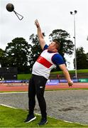 22 August 2020; Sean Breathnach of Galway City Harriers AC, Galway, on his way to winning the Men's Weight for Height with a throw of 4.60m during Day One of the Irish Life Health National Senior and U23 Athletics Championships at Morton Stadium in Santry, Dublin. Photo by Sam Barnes/Sportsfile