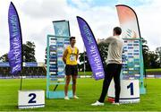 22 August 2020; Shane Howard of Bandon AC, Cork, is interviewed by Cathal Dennehy after winning the Men's Long Jump during Day One of the Irish Life Health National Senior and U23 Athletics Championships at Morton Stadium in Santry, Dublin. Photo by Sam Barnes/Sportsfile