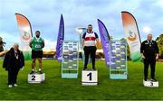 22 August 2020; Athletics Ireland President Georgina Drumm, left, pictured alongside Senior Men's Weight for Height Medallists, from left, John Dwyer of Templemore AC, Tipperary, silver, Sean Breathnach of Galway City Harriers AC, gold, and Damian Crawford of Lifford Strabane AC, Donegal, bronze, during Day One of the Irish Life Health National Senior and U23 Athletics Championships at Morton Stadium in Santry, Dublin. Photo by Sam Barnes/Sportsfile