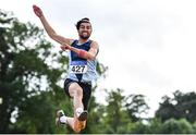 22 August 2020; Jai Benson of Lagan Valley AC, Antrim, competing in the Men's Long Jump during Day One of the Irish Life Health National Senior and U23 Athletics Championships at Morton Stadium in Santry, Dublin. Photo by Sam Barnes/Sportsfile