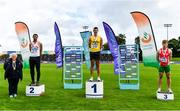 22 August 2020; Athletics Ireland President Georgina Drumm, left, pictured alongside Men's Long Jump medallists, from left, Adam McMullen of Crusaders AC, Dublin, silver, Shane Howard of Bandon AC, gold, and Ben Fisher of City of Lisburn AC, Down, bronze, during Day One of the Irish Life Health National Senior and U23 Athletics Championships at Morton Stadium in Santry, Dublin. Photo by Sam Barnes/Sportsfile
