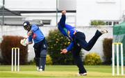 27 August 2020; Simi Singh of Leinster Lightning plays a shot from Stuart Thompson of North West Warriors during the 2020 Test Triangle Inter-Provincial Series match between Leinster Lightning and North West Warriors at Pembroke Cricket Club in Dublin. Photo by Matt Browne/Sportsfile