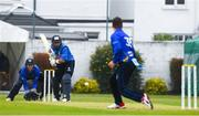 27 August 2020; Simi Singh of Leinster Lightning plays a shot from Andy McBrine of North West Warriors during the 2020 Test Triangle Inter-Provincial Series match between Leinster Lightning and North West Warriors at Pembroke Cricket Club in Dublin. Photo by Matt Browne/Sportsfile