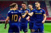 27 August 2020; Keith Ward of Bohemians is congratulated by team-mate Anthony Breslin, right, after scoring his side's first goal during the UEFA Europa League First Qualifying Round match between Fehervar and Bohemians at MOL Aréna Sóstó in Székesfehérvár, Hungary. Photo by Vid Ponikvar/Sportsfile