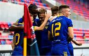 27 August 2020; Keith Ward of Bohemians celebrates with team-mates after scoring his side's first goal during the UEFA Europa League First Qualifying Round match between Fehervar and Bohemians at MOL Aréna Sóstó in Székesfehérvár, Hungary. Photo by Vid Ponikvar/Sportsfile