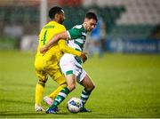27 August 2020; Dean Williams of Shamrock Rovers in action against Felipe Aspegren of Ilves during the UEFA Europa League First Qualifying Round match between Shamrock Rovers and Ilves at Tallaght Stadium in Dublin. Photo by Stephen McCarthy/Sportsfile