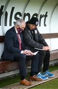 28 August 2020; Galway United manager John Caulfield and coach Johnny Glynn, right, prior to the Extra.ie FAI Cup Second Round match between Galway United and Shelbourne at Eamonn Deacy Park in Galway. Photo by Stephen McCarthy/Sportsfile
