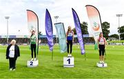 23 August 2020; Athletics Ireland President Georgina Drumm, left, alongside Women's High Jump Medallists, from left, Aoife O'Sullivan of Liscarroll AC, Cork, silver, Sommer Lecky of Finn Valley AC, Donegal, gold, and Katherine O'Connor of Dundalk St. Gerards AC, Louth, bronze, during Day Two of the Irish Life Health National Senior and U23 Athletics Championships at Morton Stadium in Santry, Dublin. Photo by Sam Barnes/Sportsfile