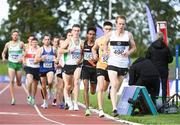 23 August 2020; John Travers of Donore Harriers, Dublin, leads the field whilst competing in the Men's 5000m during Day Two of the Irish Life Health National Senior and U23 Athletics Championships at Morton Stadium in Santry, Dublin. Photo by Sam Barnes/Sportsfile