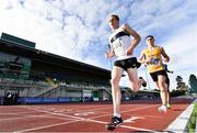 23 August 2020; John Travers of Donore Harriers, Dublin, left, and Darragh McElhinney of U.C.D. AC, Dublin,  lead the field whilst competing in the Men's 5000m during Day Two of the Irish Life Health National Senior and U23 Athletics Championships at Morton Stadium in Santry, Dublin. Photo by Sam Barnes/Sportsfile