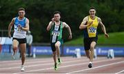 23 August 2020; Athletes, from left, Marcus Lawler of St. Laurence O'Toole AC, Carlow, Dean Adams of Ballymena and Antrim AC, and Stephen Gaffney of UCD AC,  Dublin, competing in the Men's 100m during Day Two of the Irish Life Health National Senior and U23 Athletics Championships at Morton Stadium in Santry, Dublin. Photo by Sam Barnes/Sportsfile