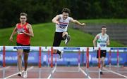 23 August 2020; Matthew Behan of Crusaders AC, Dublin, clears the last hurdle on his way to winning the Men's 400m Hurdles during Day Two of the Irish Life Health National Senior and U23 Athletics Championships at Morton Stadium in Santry, Dublin. Photo by Sam Barnes/Sportsfile