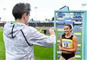 23 August 2020; Phil Healy of Bandon AC, Cork, is interviewed by Cathal Dennehy after winning the Women's 100m during Day Two of the Irish Life Health National Senior and U23 Athletics Championships at Morton Stadium in Santry, Dublin. Photo by Sam Barnes/Sportsfile