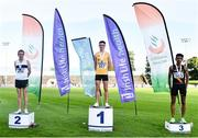 23 August 2020; Men's 5000m medallists, from left, John Travers of Donore Harriers AC, Dublin, silver, Darragh McElhinney of U.C.D. AC, Dublin, gold, and Eferm Gidey of Clonliffe Harriers AC, Dublin, bronze, during Day Two of the Irish Life Health National Senior and U23 Athletics Championships at Morton Stadium in Santry, Dublin. Photo by Sam Barnes/Sportsfile