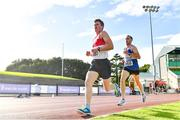 23 August 2020; David Carter of Galway City Harriers AC, left, and Gerard Gallagher of Finn Valley AC, Donegal, competing in the Men's 5000m during Day Two of the Irish Life Health National Senior and U23 Athletics Championships at Morton Stadium in Santry, Dublin. Photo by Sam Barnes/Sportsfile
